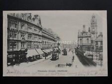 Yorkshire SHEFFIELD Pinstone Street & WENTWORTH CAFE c1902 UB Postcard Valentine