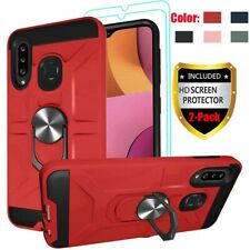 For Samsung Galaxy A20S Case Shockproof Ring Holder Cover+Glass Screen Protector