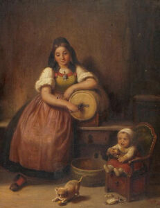 """oil painting  on canvas """"   Young mother with small child and playing cat"""""""