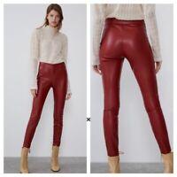 Zara Blogger Favorite Red Faux Leather Zip Hem Moto Skinny Leggings M