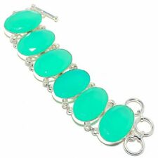 "Green Chalcedony Gemstone Handmade 925 Sterling Silver Bracelet 6-9"""