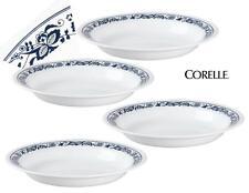 4 CORELLE Livingware OLD TOWN BLUE Onion 15oz Flat RIMMED SOUP BOWLS Navy White