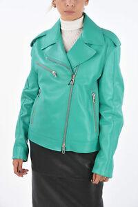 DROME women Jackets Leather Biker Neon Mint Green S (Standard Size)