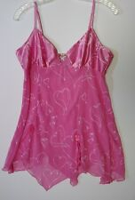 SEDUCTIVE WEAR BY CINEMA NIGHTGOWN BABY DOLL PINK & HEARTS SIZE LARGE 100% POLY