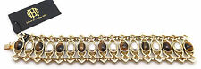 HOUSE OF HARLOW 1960 Lady Of Grace Goldtone Brown & Gray Stones Bracelet 7""