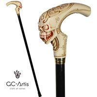 Light Skull Cane Alien Walking Stick black wooden shaft costume party accessorie