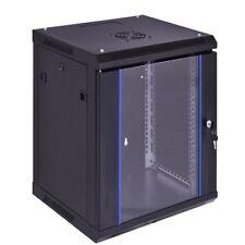 18U Premium Quality Network Server Black Cabinet W/Locking Glass Door Us New