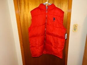 3XLT U.S. Polo Assn. Fleece Hood RED Puffer Vest