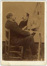 Artiste sculptant un portrait, ca.1890, vintage albumen print vintage albumen pr