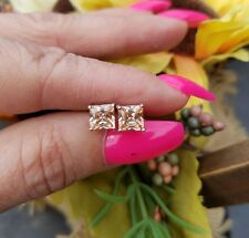 Princess Cut Golden Peach Morganite Stud Earrings, Sterling Silver