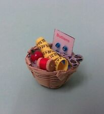 Dollhouse Miniatures Handcrafted Sewing basket filled w/scisors,buttons & thread