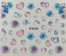 Nail Art 3D Decal Stickers Blue & Purple Roses Pastel Rose Petals Flowers E340