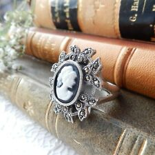 Marcasite Cameo Lady Ring Sterling Silver