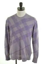 BURBERRY Mens Crew Neck Jumper Sweater Medium Purple Cotton  IF12