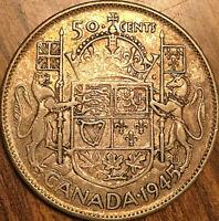 1945 CANADA SILVER 50 CENTS COIN