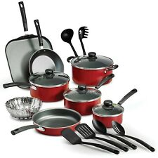 New listing Tramontina Primaware 18 Piece Non-stick Cookware Set, Red