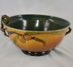 Vintage and Estate Fresh Roseville Pottery Pine Cone Brown Console Bowl 262-10