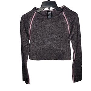 PINK Victoria's Secret Seamless Long Sleeve Crop Top Large Pink Black Spacedye L
