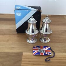 Vintage Ianthe Silver Plated Salt & Pepper Set with Box Made in England #403