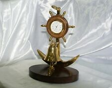 Campanello nautico timone con orologio scrivania reception in ottone e legno