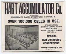 Hart Accumulator Co, London; Storage Batteries - Antique Engineering Advert 1904