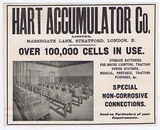 Hart Accumulator Co, London; Storage Batteries - Antique Engineering Advert 1904
