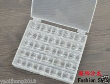 25PCS IN BOX Transparent Embroidery Thread Plastic Spool Bobbins Storage Holder