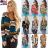 Womens Striped Floral Long Sleeve Button V Neck T Shirt Casual Loose Blouse Tops