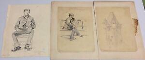 Lot of 3 Original 1880s EDMUND BEARDSLEY NOLAN Drawings Men Architecture