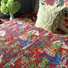 Queen Kantha Quilt. Frida Kahlo Print Bedspread. Reversible Indian Quilt.