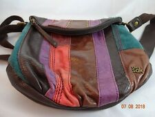 The Sak Color Block Leather Suede Purse Shoulder Bag Crossbody Boho Brass Studs