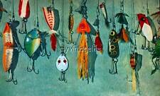 Colorful vintage fishing lure Quilting Fabric Block 8x10