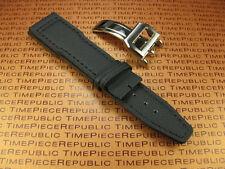 21mm Black Fabric Leather Strap Deployment Buckle Watch Band Set Top Gun PILOT V
