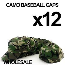 **CAMO CAMOUFLAGE** WHOLESALE LOT OF 12 PLAIN BLANK MILITARY BASEBALL CAPS HATS