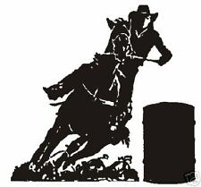 """Barrel Racer Decal Cowgirl  8"""" x 8 1/2""""  LARGE WHITE"""