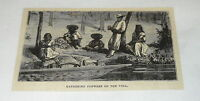 1878 small magazine engraving ~ MEN AND WOMEN OF MEXICO GATHERING FLOWERS