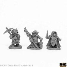 Reaper Miniatures Deep Gnome Warriors (3) #44060 Bones Black Unpainted Plastic