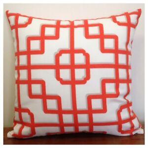 45x45cm Indoor/Outdoor P.Kaufmann Imperial Gate Orange/White Cushion Cover