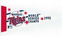 """1991 Minnesota Twins World Series Champs pennant 9"""" mini Kirby Puckett era"""