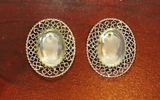 2855~Vtg Signed WHITING & DAVIS Goldtone Clear Carved Ladies Head CAMEO Earrings