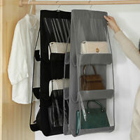 6 Pockets Folding Hanging Handbag Organizer 3 Layers Closet Bag Storage Holder