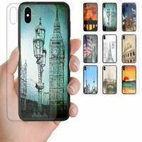 For Apple iPhone Series - City Landmark Tempered Glass Back Case Phone Cover