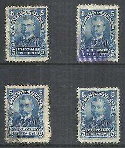 NEWFOUNDLAND SCOTT 85 USED X 4 - 1899 5c BLUE ISSUE  CAT $12.00