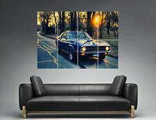 Ford Mustang Blue car Vintage Sunset  Wall Art Poster Grand format A0