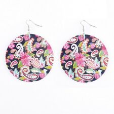 Print Floral Pineapple Wood Earrings for Women Printed Round Disc Dangle Jewelry