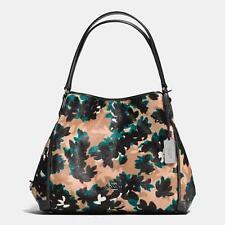 NWT Coach Print Haircalf Edie Shoulder Bag 31 Scatter Leaf Walnut Multi F38332