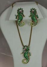 18k YELOW GOLD RUBY GREEN GARNET TSAVORITE DIAMOND SEAHORSE PENDANT EARRING SET