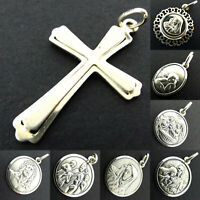 925 Sterling Silver Pendant Charm Saints Cross Mary Jesus Angel Religious Medals