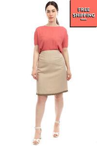 RRP €120 ELENA MIRO' Pencil Skirt Plus Size 43F / L Linen Blend Split Back