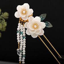 Retro Flowers Beads Tassel Hair Stick Accessory for Kimono Hanfu Party Cosplay